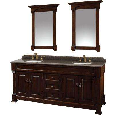 Andover 72 in. W x 23 in. D Vanity in Dark Cherry with Granite Vanity Top in Imperial Brown with White Basins and Mirror