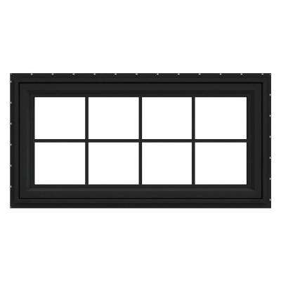 48 in. x 24 in. V-4500 Series Bronze FiniShield Vinyl Awning Window with Colonial Grids/Grilles