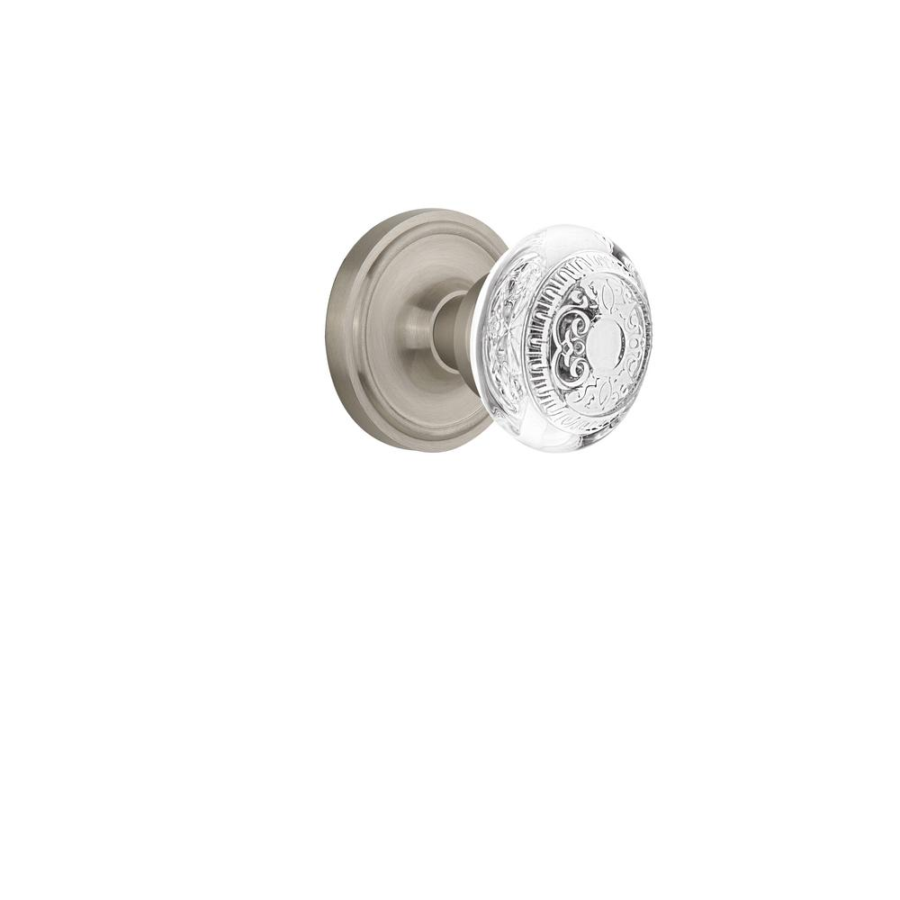 Classic Rosette 2-3/8 in. Backset Satin Nickel Passage Hall/Closet Crystal Egg