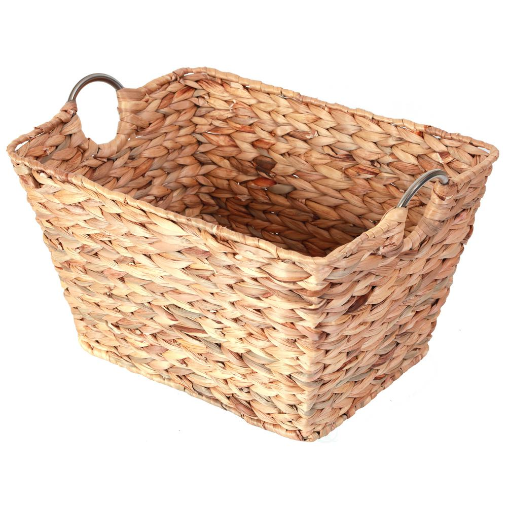 Vintiquewise Large Square Water Hyacinth Wicker Laundry Basket