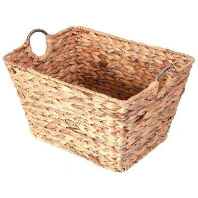 Large Square Water Hyacinth Wicker Laundry Basket