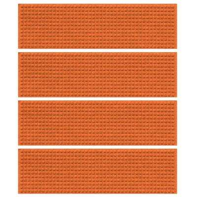 Orange 8.5 in. x 30 in. Squares Stair Tread Cover (Set of 4)