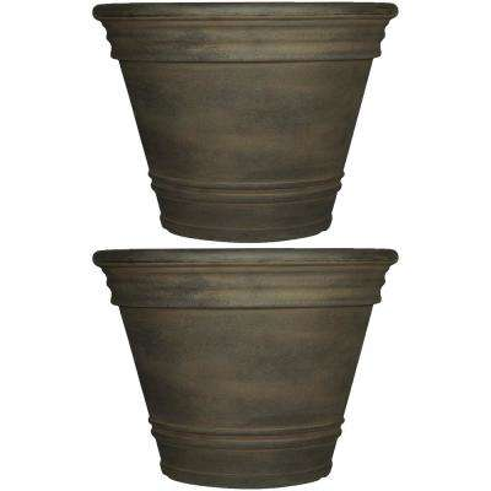 20 in. Sable Franklin Resin Outdoor Flower Pot Planter (2-Pack)