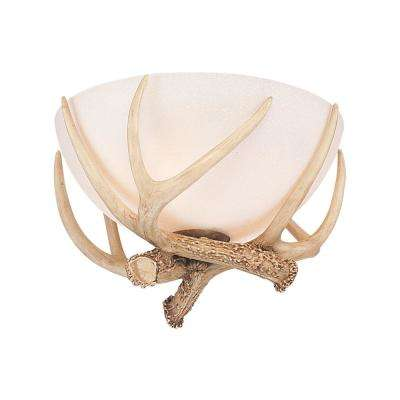 Great Lodge 3-Light Frosted White Ceiling Fan Antler Bowl Light Kit