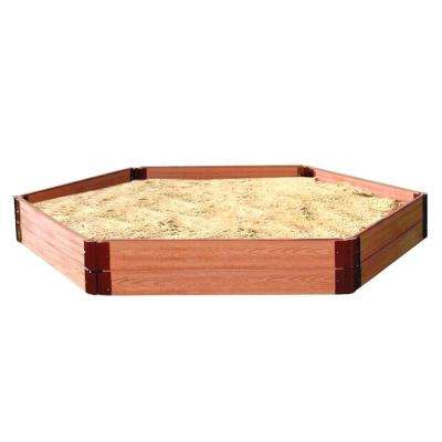 Classic Sienna One Inch Series 7 ft. x 8 ft. x 11 in. Composite Hexagon Sandbox Kit with Collapsible Cover