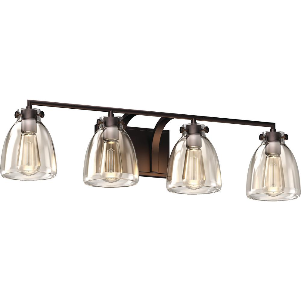 Volume Lighting 4-Light Indoor Antique Bronze Bath or Vanity Light Bar, Wall Mount, or Wall Sconce w/ Clear Glass Jar Bell Shades