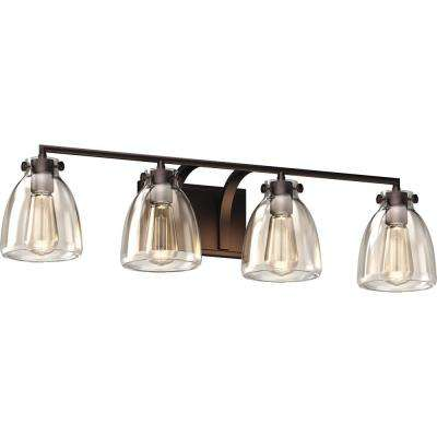 4-Light Indoor Antique Bronze Bath or Vanity Light Bar, Wall Mount, or Wall Sconce w/ Clear Glass Jar Bell Shades