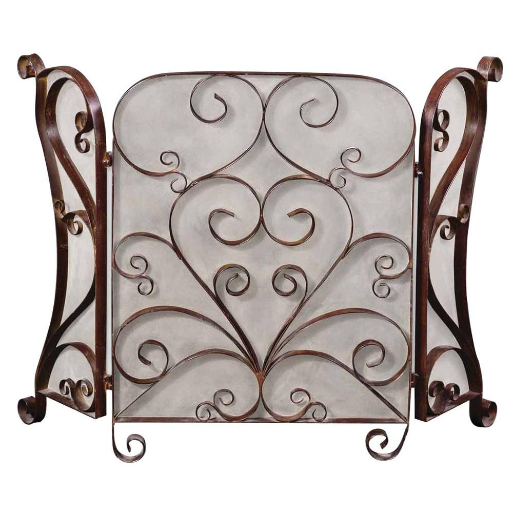 Home Decorators Collection 33-1/4 in. H x 49-6/8 in. W Brown Fireplace Screen
