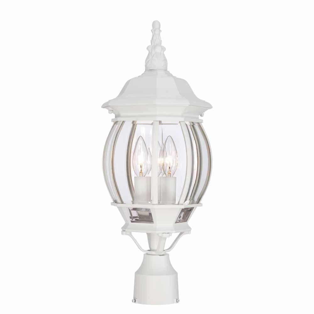 Hampton Bay 3 Light White Outdoor Post Light Hb7029 06