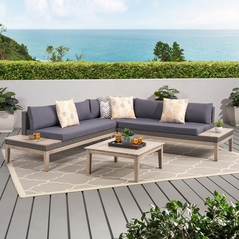 Loft Light Grey 4-Piece Wicker Patio Conversation Sectional Seating Set with Dark Grey Cushions