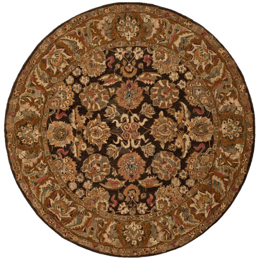 Anatolia Dark Brown/Gold 8 ft. x 8 ft. Round Area Rug