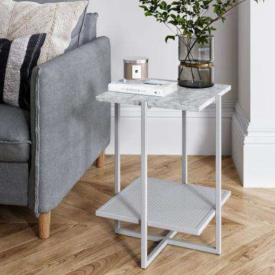 Myles White Marble Top and White Metal Base 2-Tier Modern Accent Table
