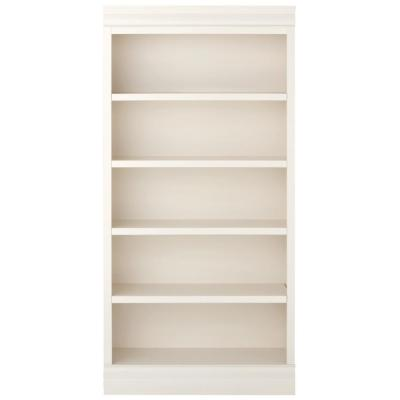 73 in. Polar White Wood 5-shelf Standard Bookcase with Adjustable Shelves