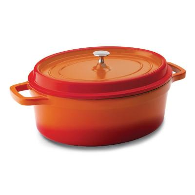 6 qt. Oval Cast Aluminum Nonstick Dutch Oven in Orange with Lid