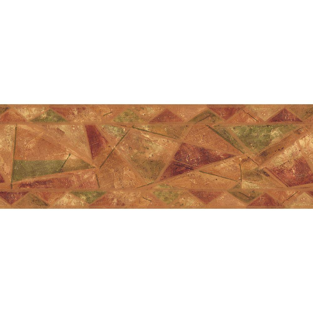 The Wallpaper Company 6.88 in. x 15 ft. Orange and Green Earth Tone Geometric Style Border