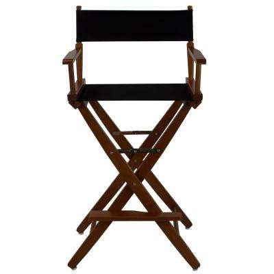 30 in. Extra-Wide Mission Oak Wood Frame/Black Canvas Seat Folding Directors Chair