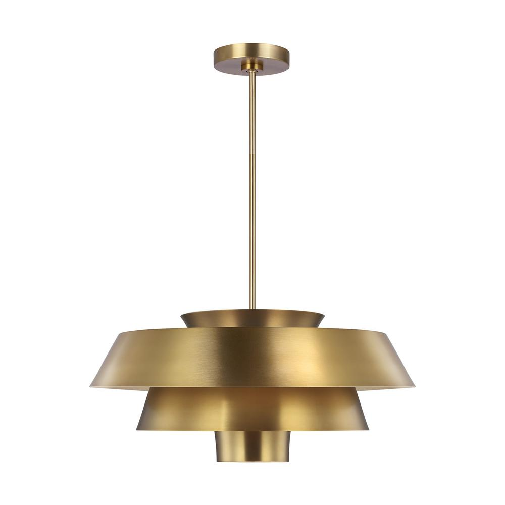 Ed ellen degeneres crafted by generation lighting brisbin 24 in w 1 light burnished brass 3 tiered shades metal pendant