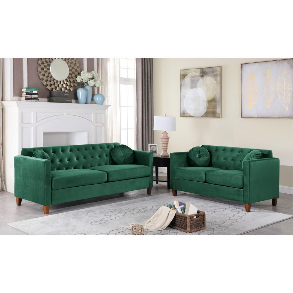 Lory velvet Kitts Classic Chesterfield Sofa Green