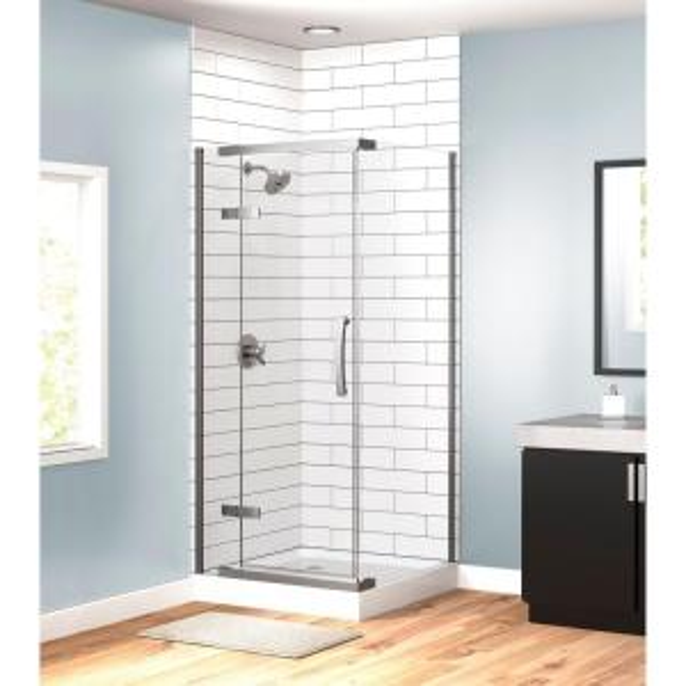 Delta 36 inch x 36 inch x 76 inch 3-Piece Corner Frameless Shower Enclosure in Stainless by Delta