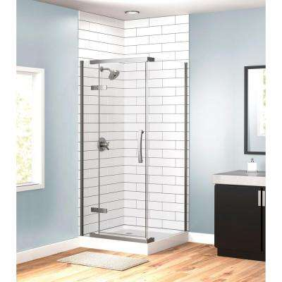 36 in. x 36 in. x 76 in. 3-Piece Corner Hinged Frameless Shower Enclosure in Stainless