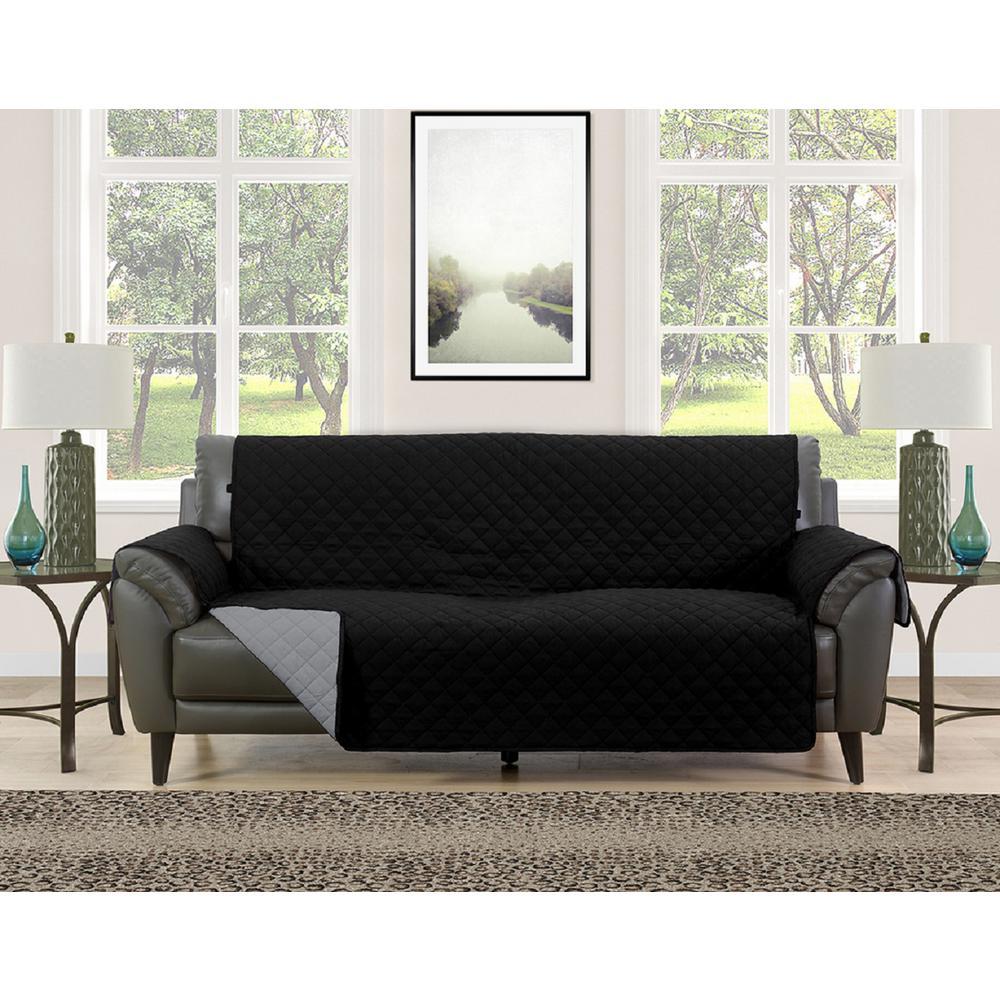Barrett Black/Grey Microfiber Reversible Couch Protector