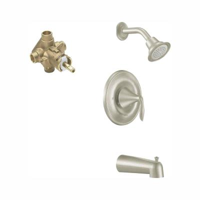 Eva Single-Handle 1-Spray Posi-Temp Tub and Shower Faucet with Valve in Brushed Nickel (Valve Included)