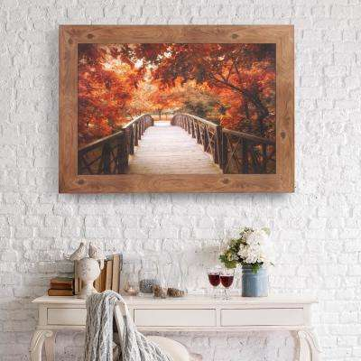 Fall Footbridge Framed Canvas Wall Art