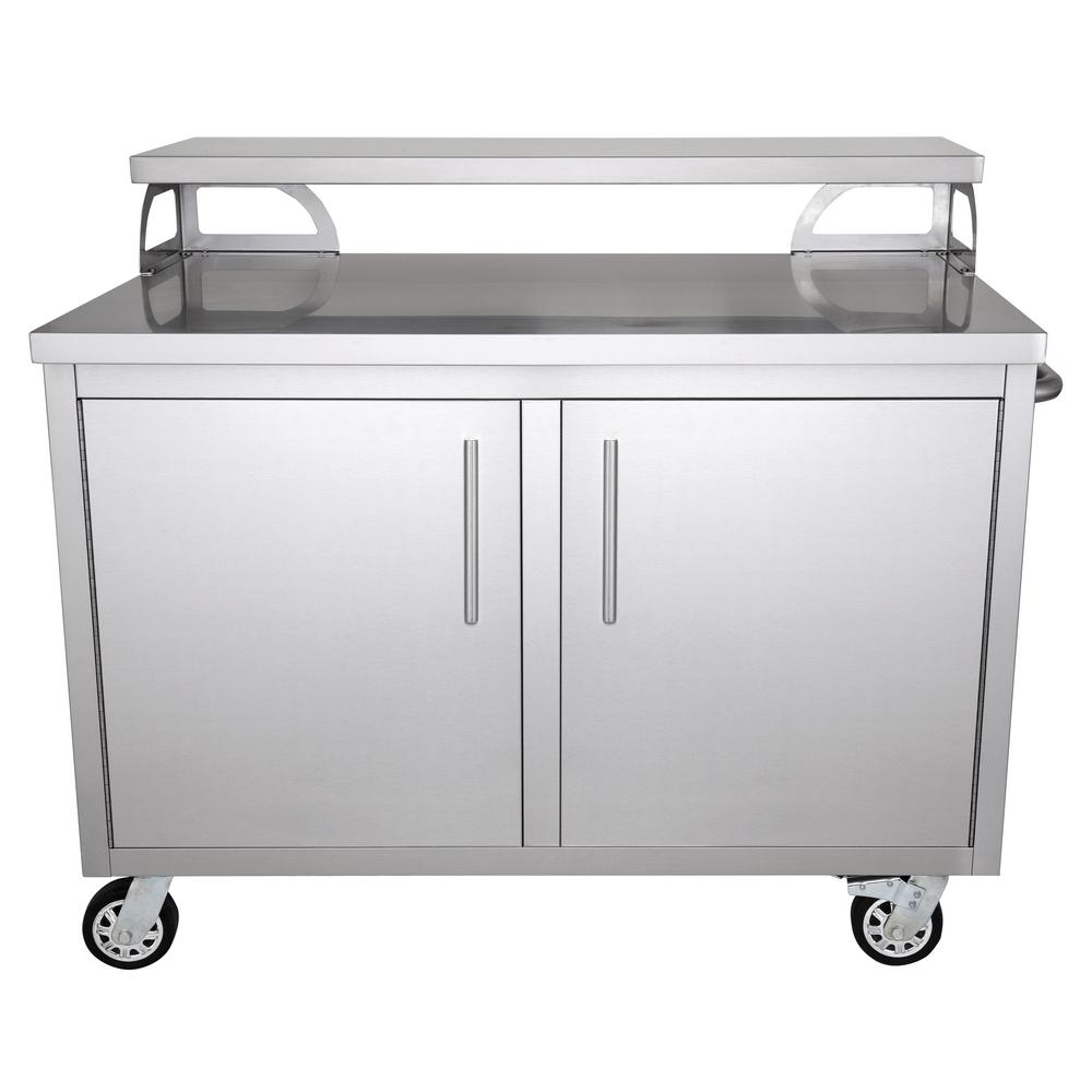 Casa Nico Stainless Steel 48 in. x 43 in. x 30 in. Portable Outdoor Kitchen  Cabinet and Patio Bar
