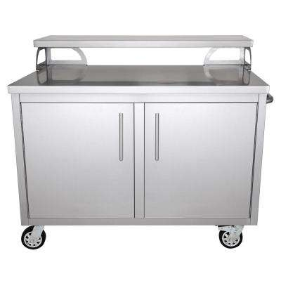 Casa Nico Stainless Steel 48 in. x 43 in. x 30 in. Portable Outdoor Kitchen Cabinet and Bar