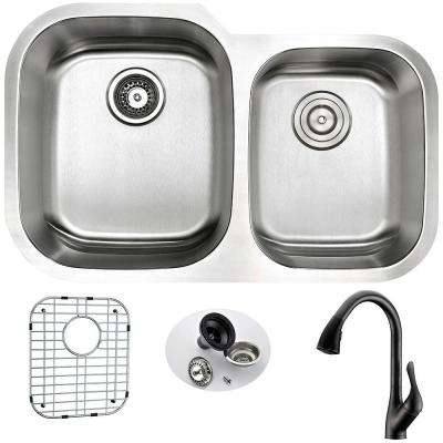 MOORE Undermount Stainless Steel 32 in. Double Bowl Kitchen Sink and Faucet Set with Accent Faucet in Oil Rubbed Bronze
