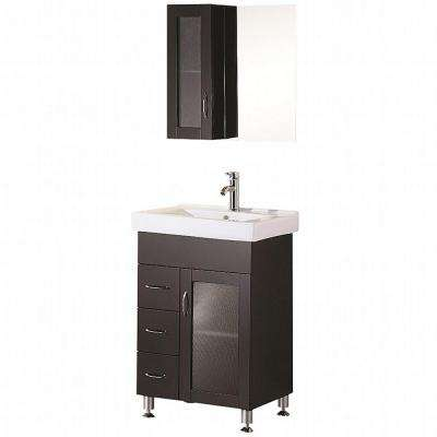 Oslo 24 in. W x 18 in. D Vanity in Espresso with Porcelain Vanity Top and Mirror in White