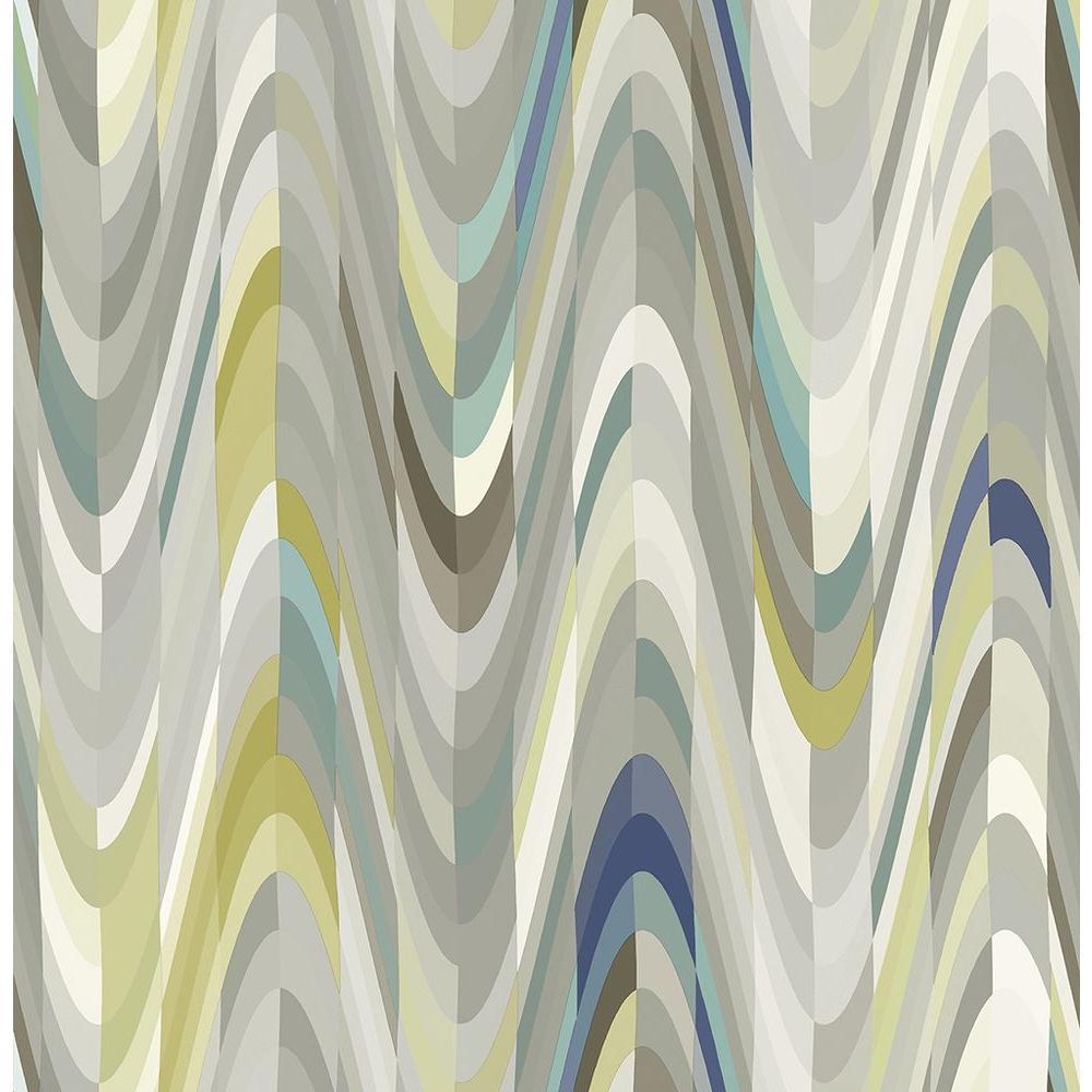 Aurora Blue Geometric Wave Wallpaper Sample