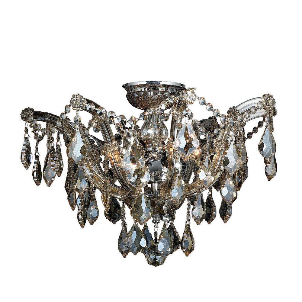 Bayou Collection 6-Light Golden Teak Crystal and Chrome Ceiling Light