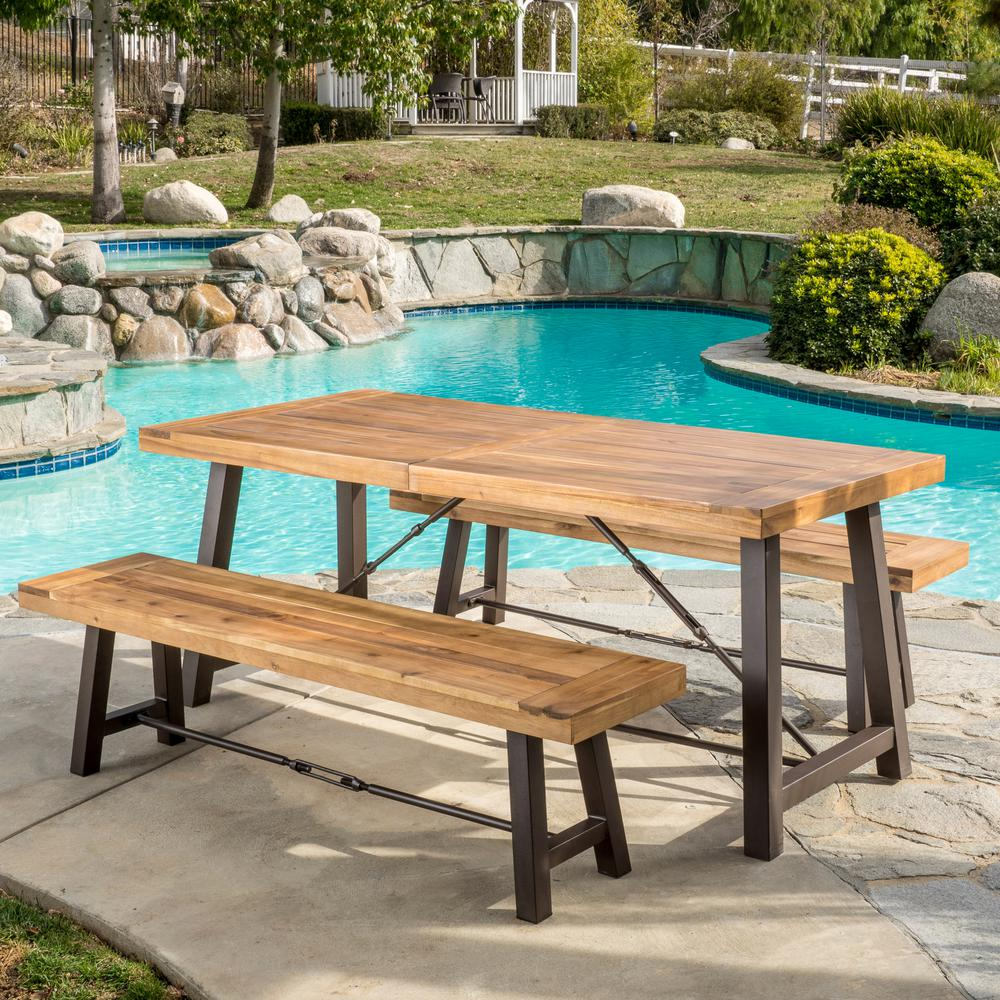 Picnic Table Dining Room Sets: Noble House Catriona Teak 3-Piece Wood Rectangular Outdoor