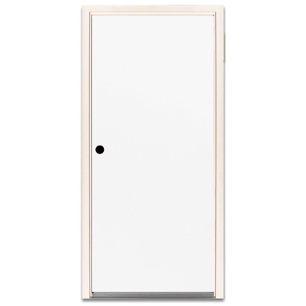 32 in. x 80 in. Basic White Flush Primed Steel Prehung