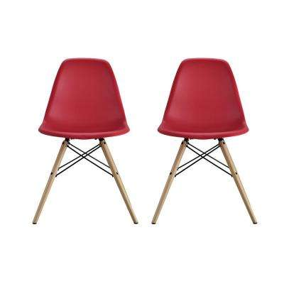 Moorea Red Mid Century Modern Molded Chair With Wood Leg Set Of 2