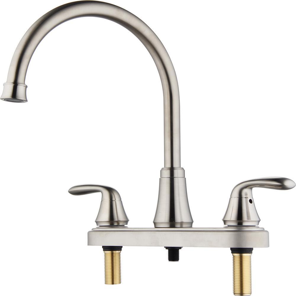 Morganite 2-Handle Standard Kitchen Faucet in Brushed Nickel