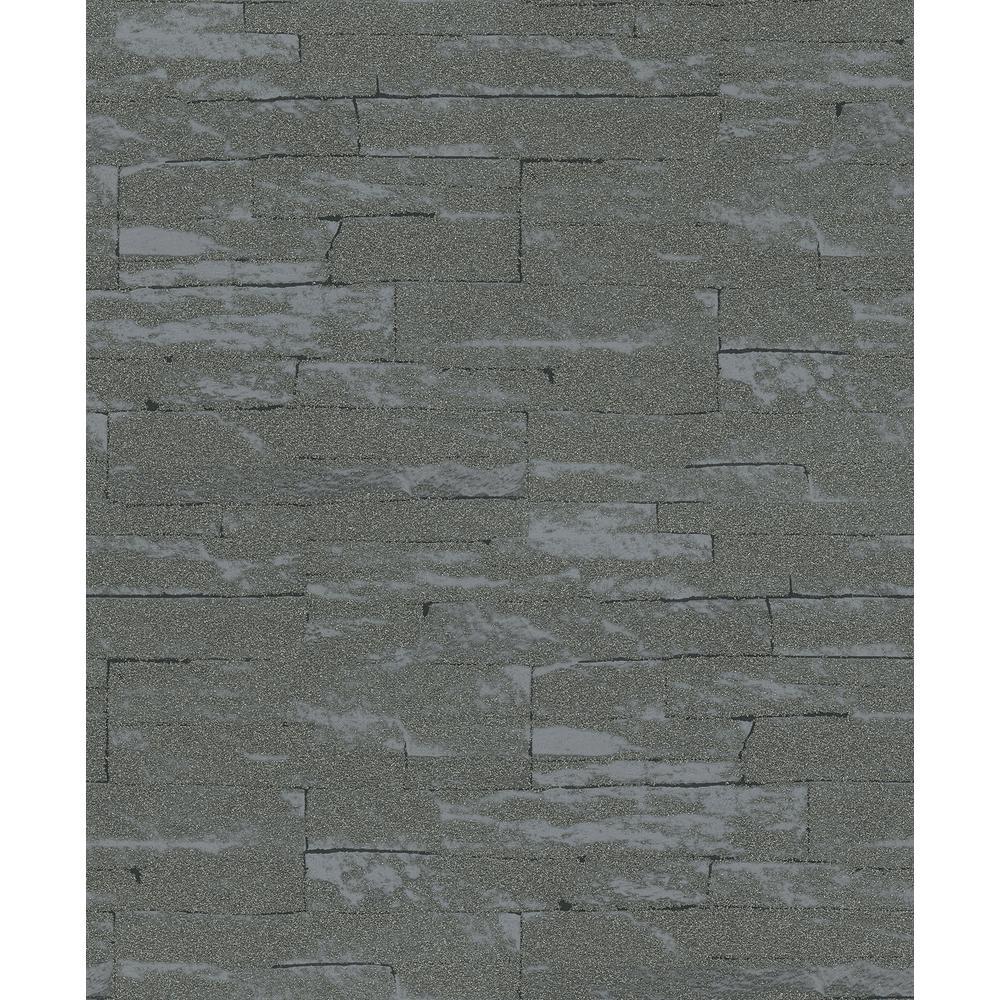 56.4 sq. ft. Rheta Charcoal Stone Wallpaper