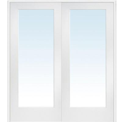 60 in. x 80 in. Both Active Primed Composite Clear Glass Full Lite Prehung Interior French Door