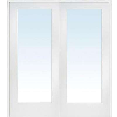 60 in. x 80 in. Both Active Primed Composite Clear Glass Full Lite Prehung  sc 1 st  Home Depot : white french doors interior - zebratimes.com