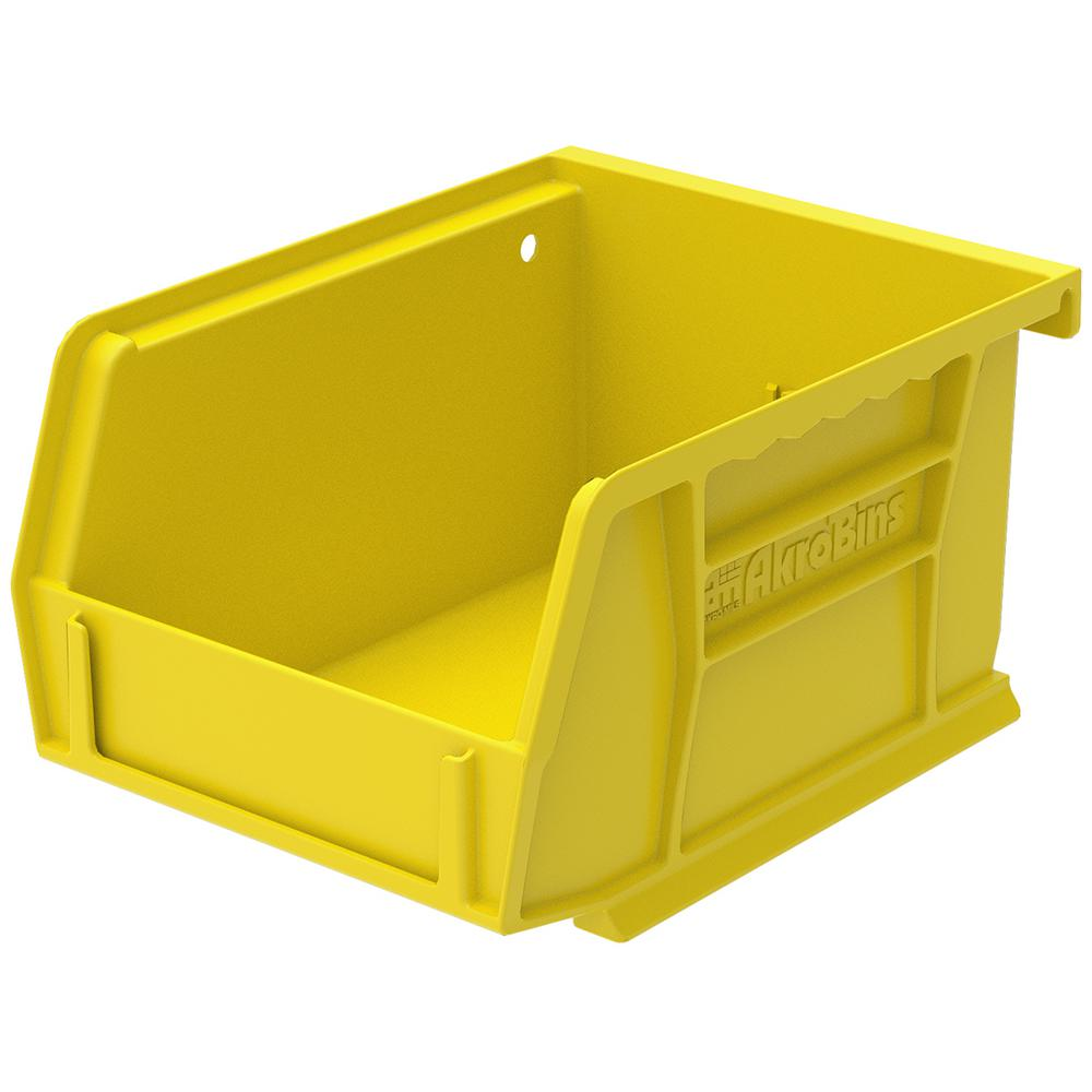 AkroBin 4.1 in. 10 lbs. Storage Tote Bin in Yellow with