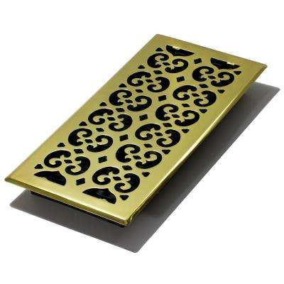 6 in. x 14 in. Scroll Brass Floor Register