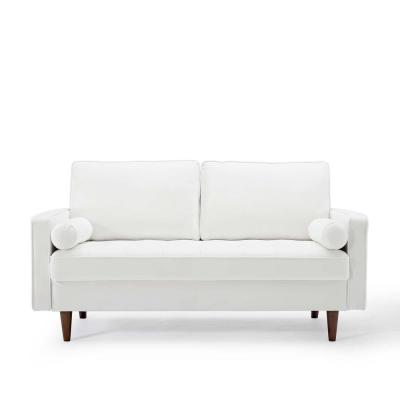 Valour 61.5 in. White Velvet 3-Seater Loveseat with Removable Cushions