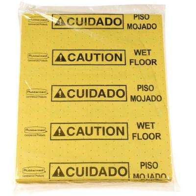 16.5 in. x 20 in. Yellow Over-the-Spill Caution Wet Floor Pads (25-Count)