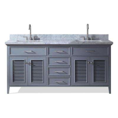 Kensington 73 in. Vanity in Grey II with Marble Vanity Top in Carrara White with White Basin