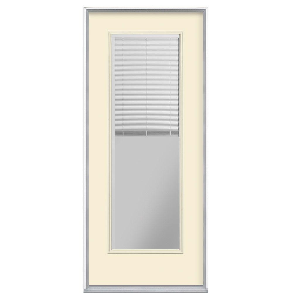 Masonite 32 in. x 80 in. Mini Blind Right-Hand Inswing Painted Steel Prehung Front Door No Brickmold