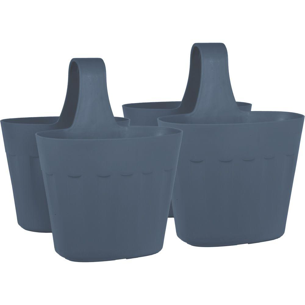 Mela 15 in. Dark Gray Plastic Saddlebag Rail Planter (2-Pack)