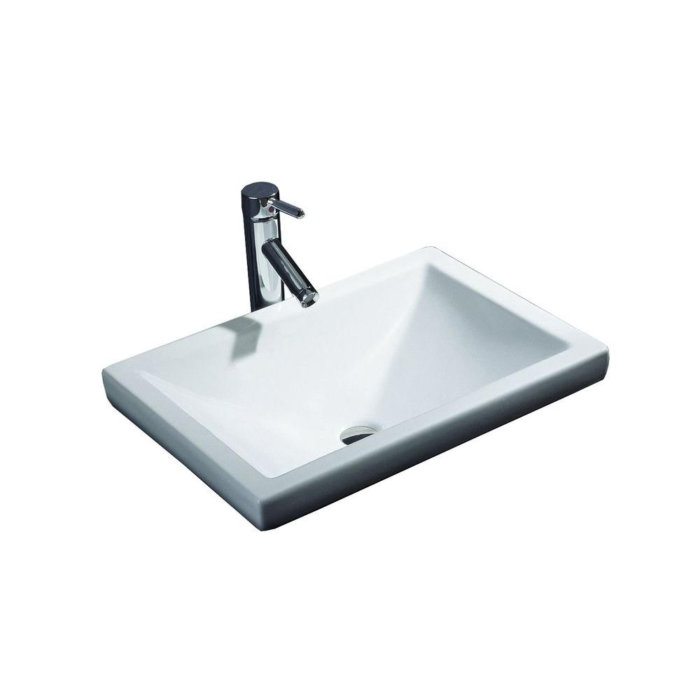 Filament Design Cantrio Semi Recessed Bathroom Sink In White