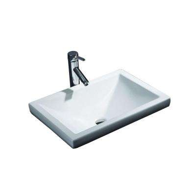 Cantrio Semi-Recessed Bathroom Sink in White