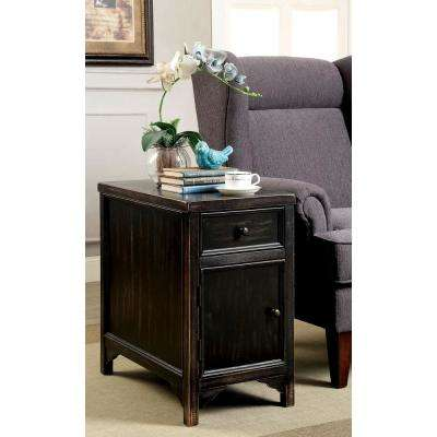 Meadow Transitional Style Antique Black Side Table with Storage Drawers and Spacious Cabinet